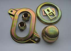 An electroplated zinc part that has a gold chromate finish on the electroplated zinc surface